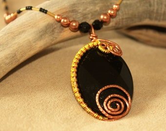 Faceted Black ONYX Wire Wrapped Necklace NATIVE American Rosebud Lakota Sioux LakotaLuck Resplendent Exquisite Splendiferous Gorgeous Powwow