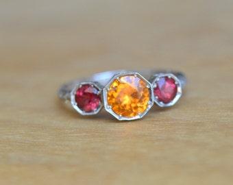 Octagon Ring, Mandarin Garnet Ring, Burma Spinel Ring, 14 Kt White Gold Ring, Orange and Pink Ring, Engraved Ring, Bezel Ring