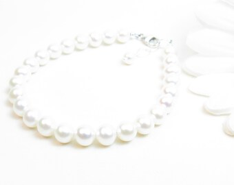 Real Pearl Bracelet Gold-Filled or Sterling Silver // Freshwater Pearl Bracelet // White Pearl Bracelet // Classic Pearl Bracelet // 6-6.5mm
