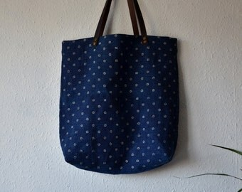 Tote bag dark blue linen shopper eco friendly indigo bags handmade woven fabric leather handles boho shopper bohemian mens womens minimalist
