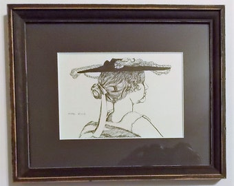 Original Ink Drawing, Portrait Of A Lady, Matted  And Framed, Pen And Ink, Original Portrait, Ink Sketch, One Of A Kind, Small Original Art