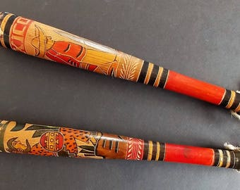 """Two 1960s Mexican Hand Carved Baseball Bats 15 3/4"""" Long, Painted Wood Bats For Decor Display, Carved Motif, Bright Colors, Folk Art Bats"""