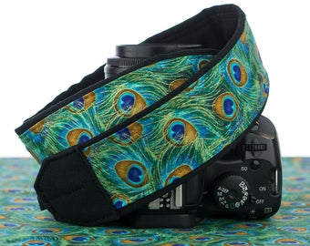 Peacock dSLR Camera Strap with Pocket, Feathers, Teal, Green, Aqua, Gold,  SLR, 037