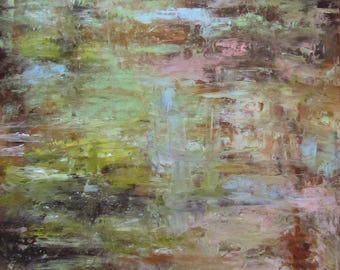 """Abstract Painting, Abstract Art, Water Art, Pond Art, Lily Pond Art 'Living Waters"""" by AndolsekArt"""
