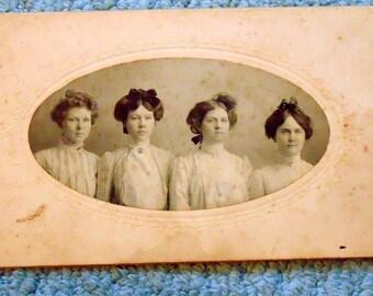 Gibson Girls Style Vintage Photo 4 Girls 1890's Hairstyles Proper Victorian Girls Charles Dana Gibson style photo photography black white