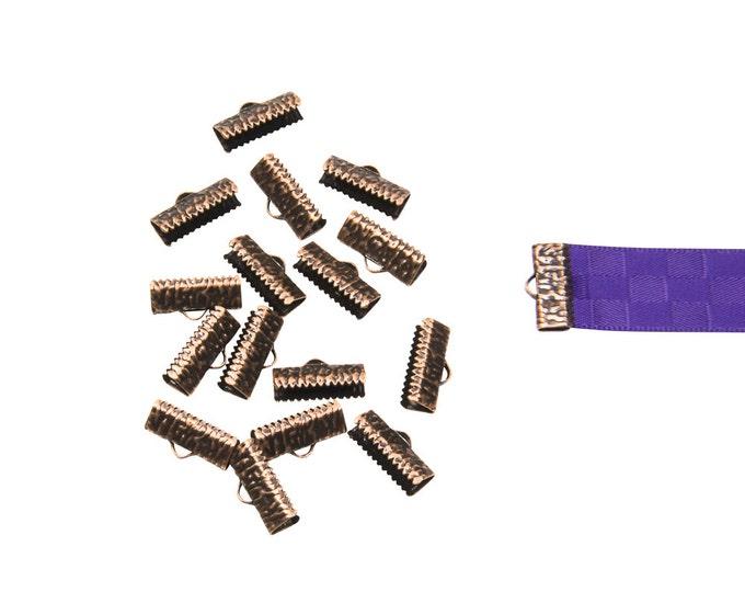 150pcs.  16mm ( 5/8 inch )  Antique Copper Ribbon Clamp End Crimps - Artisan Series
