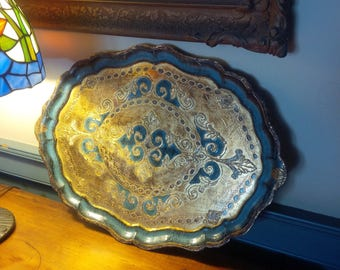 Florentine Tray Vintage Oval Wooden Tray Vintage Poppy Cottage MCM