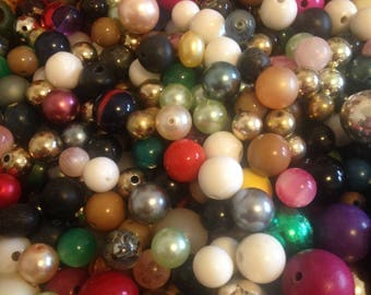 MIXED BEAD LOT / Almost 2 Pounds  Large Beads / Acrylic / Glass / Wood / Destash / Rainbow / Jewel tones