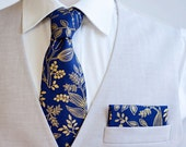 Necktie, Neckties, Mens Necktie, Floral Neckties, Groomsmen Necktie, Wedding Neckties, Ties, Rifle Paper Co - Queen Anne In Navy And Gold