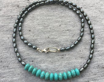 Turquoise and Hematite Necklace, Turquoise Necklace, Unique Jewelry, Handmade Jewelry, Gift for Girlfriend, Gift for Wife