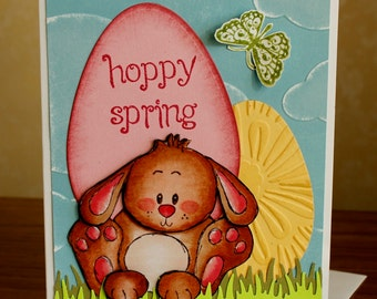 Hand Stamped and Colored Hoppy Easter Layered Dimensional - Spring, Birthday, Thinking of you, or Easter Card