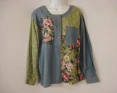 Boho Chic Denim Blouse Embroidered Patchwork Top Blue Pink Green L XL