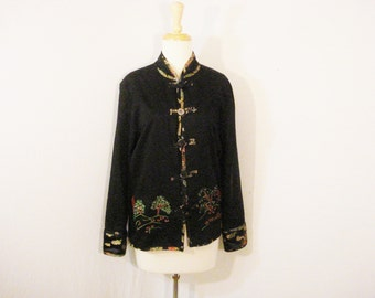 Asian Oriental Jacket Top Embroidered Pagodas Ethnic Vintage Black Coat L XL
