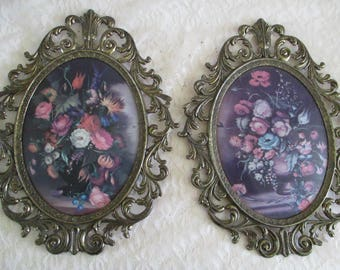 Oval Bubble Glass Set of 2 Metal Frames Floral Pictures Made in Italy