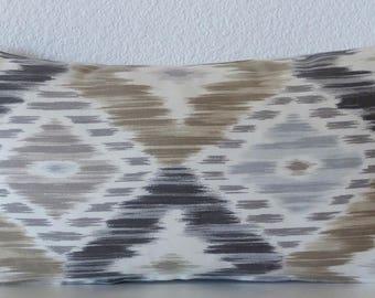 Decorative mini lumbar pillow cover - Ikat diamonds - Taupe - Blue - Charcoal - Decorative 8x16 cushion cover