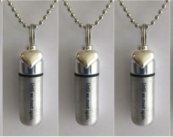 """Set of 5 ENGRAVED Brushed Silver Cremation Urn Necklaces """"Until we meet again"""" with Puffed Heart - with 5 Velvet Pouches, 5 Chains, Fill Kit"""