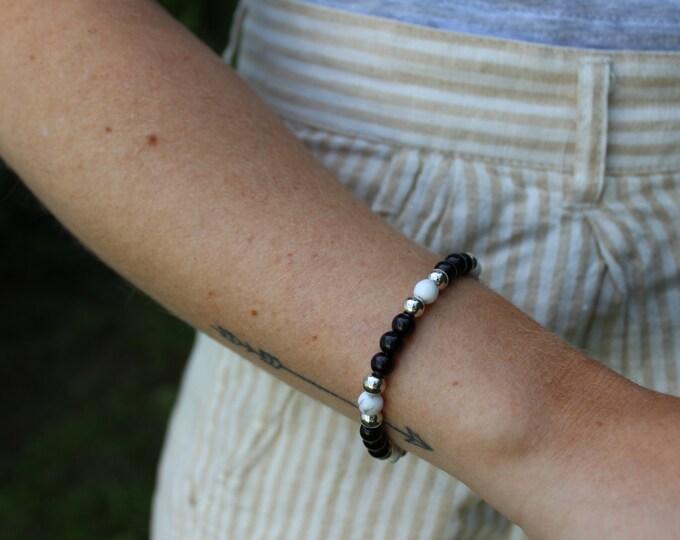 Marble & Black Beaded Bracelet.