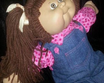 16in.  Cabbage Patch Kids Dolls Denim Overalls  with matching Bubble Gum Pink dots Shirt    Overalls