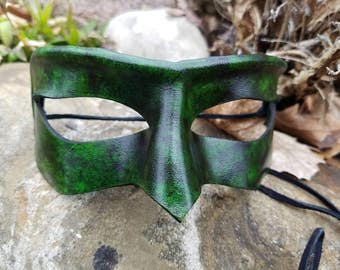 Green and Black Leather Masquerade Mask