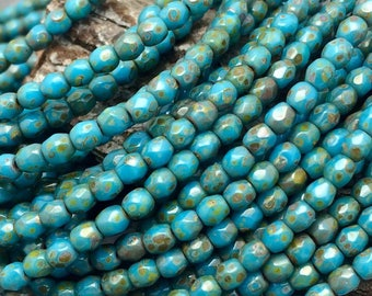 French Turquoise Picasso Faceted Fire polish 3mm Beads