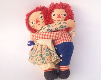 "Vintage 7"" Raggedy Ann girl doll 7"" Raggedy Andy boy plush stuffed rag dolls Hug hugging"