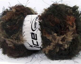 ICE YARNS Softly Chunky Brown Shades Black 100gr 6 superbulky micro fiber knitting crochet yarn ships from indiana 43585