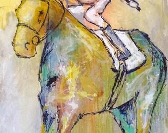 Large Horse Painting, Equestrian art, original Race Horse painting, canvas art, abstract, horse art, Fine Art, acrylic painting, Liz Wiley