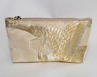 Silk Japanese Obi Clutch - cosmetic bag- evening bag