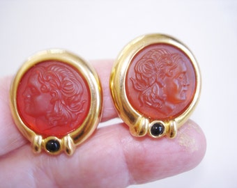 Ladies Amber Color in Gold Tone Clip Earrings