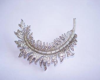 Crown Trifari Clear Rhinestone Feather  Brooch Silver Tone