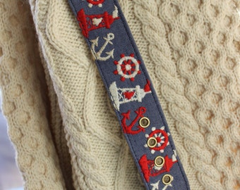 Novelty Belt Nautical size 38 Cotton on Vinyl Red White and Blue VINTAGE by Plantdreaming