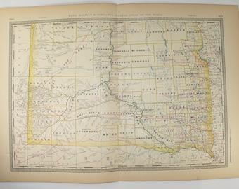 Antique South Dakota Map 1881 Rand McNally Map of Dakota Territory, Vintage Map South Dakota, SD Map, Old Railroad Map, History Buff Gift