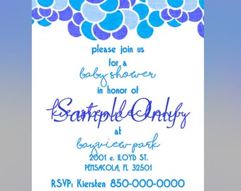 Blue Bubble Baby Shower Invitation 5x7 DIY Printable Digital File