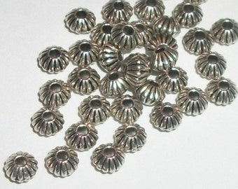 Antique silver pewter 5mm corrugated double cone spacer beads -- 100 pieces  (8904)
