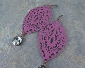 SALE 50% off Purple Lace Earrings Filigree Earrings Rhinestone Earrings Statement Jewelry Boho Earrings Victorian Jewelry