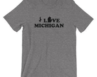 I Love Michigan Unisex Shirt - Michigan Shirt - Men's Women's Tee - Gray, Blue - MI, Mitten State, U.P. Yooper - Created by Braymont Designs