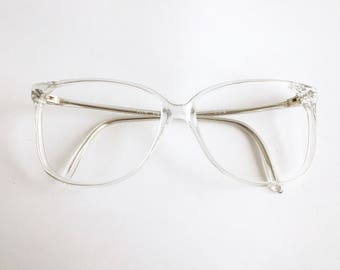 Vintage 1980's Transparent Clear Oversized Plastic Eyeglasses from COS