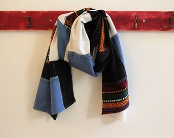 Patchwork Scarf, Black, White, Blue Scarf from Cotton, Linen Scraps, Pojagi Scarf, Boro Scarf