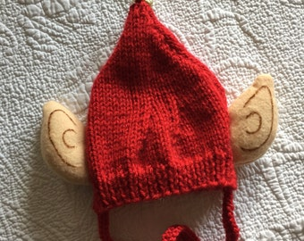 Elf hat with ears  End of year sale  adorable hat with elf ears.  Hat has red ties.  Sale is final. I am on vacation until 4/3.