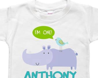 Personalized Birthday Bodysuit Shirt - Toddler Birthday - First Birthday Shirt - Rhino Rhinoceros Bird