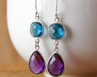 CHRISTMAS SALE Silver Purple Amethyst & Blue Quartz Earrings - Teardrop Earrings