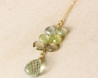 CHRISTMAS SALE Green Sapphire and Green Amethyst Y Necklace - Lariat Necklace - Gold or Silver