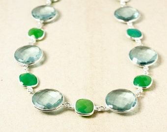 Aqua Quartz and Green Chrysoprase Necklace – 925 Sterling Silver