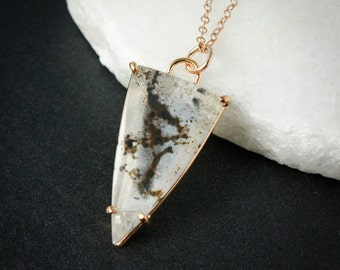Triangle Dendritic Quartz Necklace, Natural Dendritic Quartz Pendant