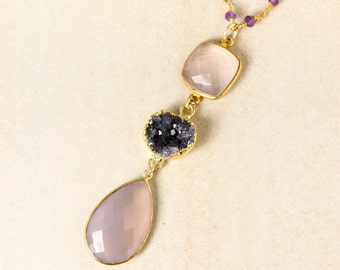 Gold Rose Quartz, Druzy, and Pink Chalcedony Teardrop Necklace - Amethyst Chain - Multi-Stone Necklace
