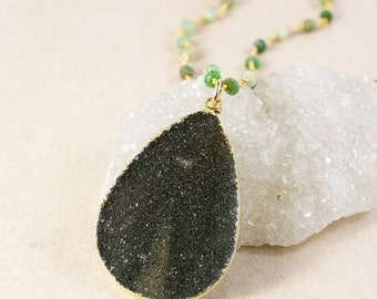 50 OFF SALE Black Teardrop Druzy Necklace with Crystal Chain – Choose Your Chain