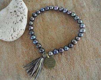 """Justhipstuff Freshwater Pearl Bracelet / Tassel Boho Bracelet / """"Well Behaved Women Rarely Make History"""" Charm Bracelet"""