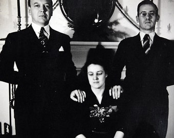Vintage Photo Threesome Men in Suits Submissive Woman Odd Wierd Obsessive Family Snapshot.