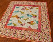 Colorful Bird Table Topper or Wall Hanging, Quilted Square Table Topper, Blue Pink Orange Yellow, Quilted Table Runner, Quilted Tablecloth