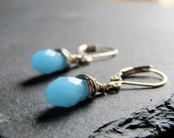 Sterling Silver Wire Wrapped Opaque Sky Blue Faceted Briolette Dangles